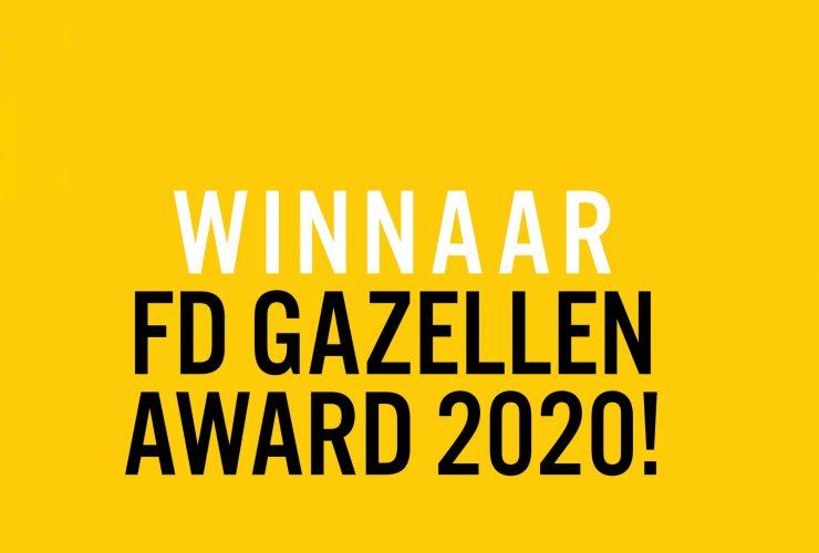 Tekst Winnaar FD Gazellen award 2020 op een gele achtergrond