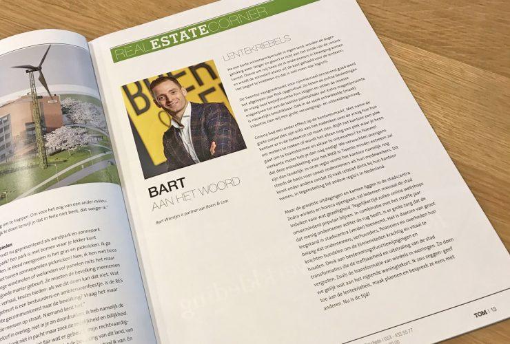 Magazine met de column van Bart Wientjes over commercieel onroerend goed in Twente